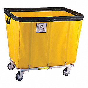 "Yellow Antimicrobial Flame Retardant Vinyl Basket Truck, 15.0 cu. ft., 400 lb., 41-1/2""L X 26""W X 34"