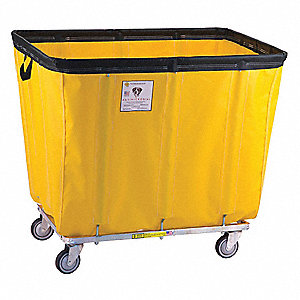 "Yellow Antimicrobial Flame Retardant Vinyl Basket Truck, 22.4 cu. ft., 550 lb., 44-1/2""L X 32""W X 38"