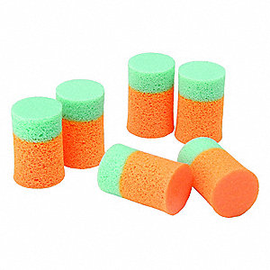 29dB Disposable Cylinder-Shape Ear Plugs; Uncorded, Blue, Orange, Universal