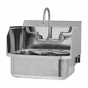 Beau SANI LAV Stainless Steel Hand Sink, With Faucet, Wall Mounting Type,  Stainless   48TF84|507FL 0.5   Grainger