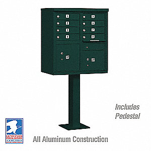 Cluster Box Unit, Green, 10 Doors, 18 in. W