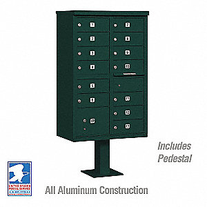 Cluster Box Unit,Green,14 Doors,18 in. W