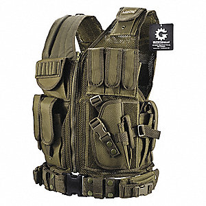 Tactical Vest,Nylon,OD Green
