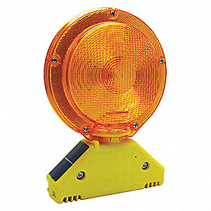 "Barricade Light, 7-1/4"" Head Dia., Amber, Solar"