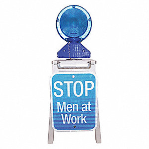 LED Stop Sign,Stop Men at Work,WT/Blue