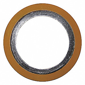 "304 Stainless Steel Spiral Wound Metal Gasket, 5-3/4"" Outside Dia., Yellow Band, Gray Stripe"
