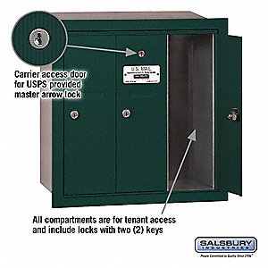 Mailbox,USPS,3 Doors,Green,19in H,25 lb