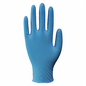 "9-1/2"" Powder Free Unlined Nitrile Disposable Gloves, Blue, Size  L, 100PK"