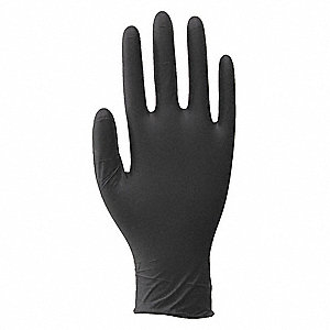 "9-1/2"" Powder Free Unlined Nitrile Disposable Gloves, Black, Size  L, 100PK"