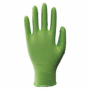"9-1/2"" Powder Free Unlined Nitrile Disposable Gloves, Fluorescent Green, Size  M, 100PK"