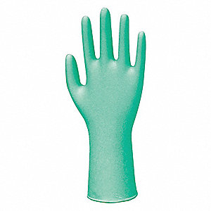 "11"" Powder Free Unlined Neoprene Disposable Gloves, Green, Size  M, 100PK"