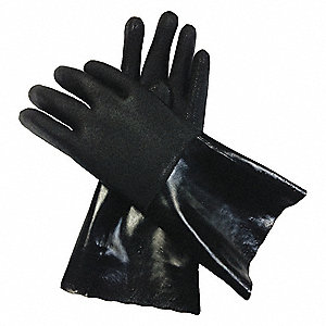 "Chemical Resistant Gloves, Size L, 13-3/4""L, Black ,  1 PR"