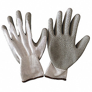 10 Gauge Crinkled Latex Coated Gloves, Size S, Gray/Gray