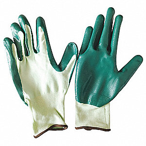 13 Gauge Smooth Nitrile Coated Gloves, Glove Size: XL, Green/Green