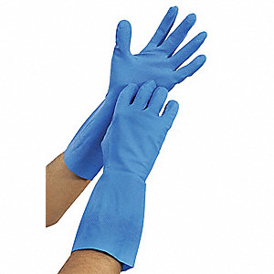"Chemical Resistant Gloves, Size 7, 13""L, Blue ,  1 PR"