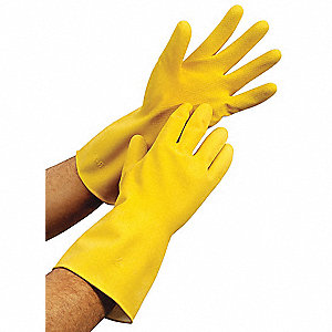 20.00 mil Natural Rubber Latex Chemical Resistant Gloves, Yellow, Size L, 1 PR