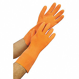 Natural Rubber Latex Chemical Resistant Gloves, 29 Mil Thickness, Flock Lining, Size 9, Orange, PR 1