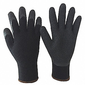 10 Gauge Crinkled Natural Rubber Latex Coated Gloves, Glove Size: XL, Black