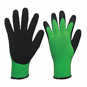 10 Gauge Crinkled Natural Rubber Latex Coated Gloves, Glove Size: M, Black/Green