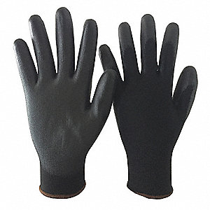13 Gauge Smooth Polyurethane Coated Gloves, Glove Size: M, Black