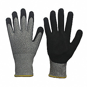 Nitrile Cut Resistant Gloves, ANSI/ISEA Cut Level 3, HPPE, Spandex® Lining, Black, Gray, L, PR 1