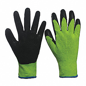 Natural Rubber Latex Cut Resistant Gloves, ANSI/ISEA Cut Level 3, Polyester, Stainless steel Lining,