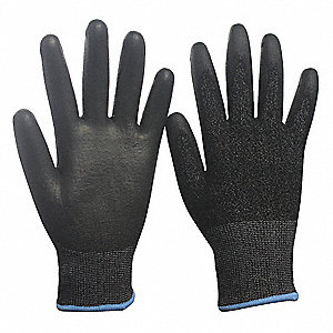 Polyurethane Cut Resistant Gloves, ANSI/ISEA Cut Level 4, HPPE, Spandex® Lining, Black, Gray, M, PR