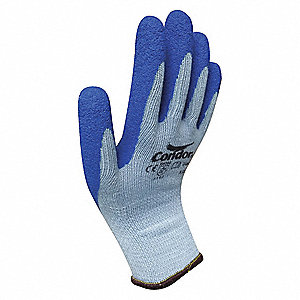 10 Gauge Crinkled Natural Rubber Latex Coated Gloves, Glove Size: S, Blue/Gray