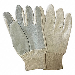 Canvas Gloves, Cotton/Split Leather Material, Knit Wrist Cuff, Natural, Glove Size: L
