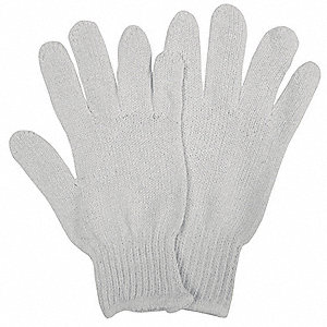 Knit Gloves, Polyester/Cotton Material, Knit Wrist Cuff, White, Glove Size: L