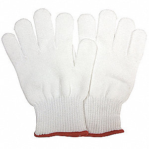 Knit Gloves, Cotton/Spandex Material, Knit Wrist Cuff, Natural, Glove Size: L