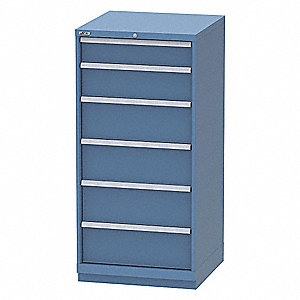 "Stationary Full Height Modular Drawer Cabinet, 6 Drawers, 28-1/4""W x 28-1/4""D x 60""H Bright Blue"