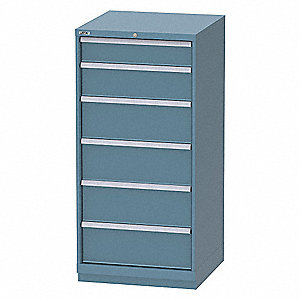 "Stationary Full Height Modular Drawer Cabinet, 6 Drawers, 28-1/4""W x 28-1/4""D x 60""H Classic Blue"