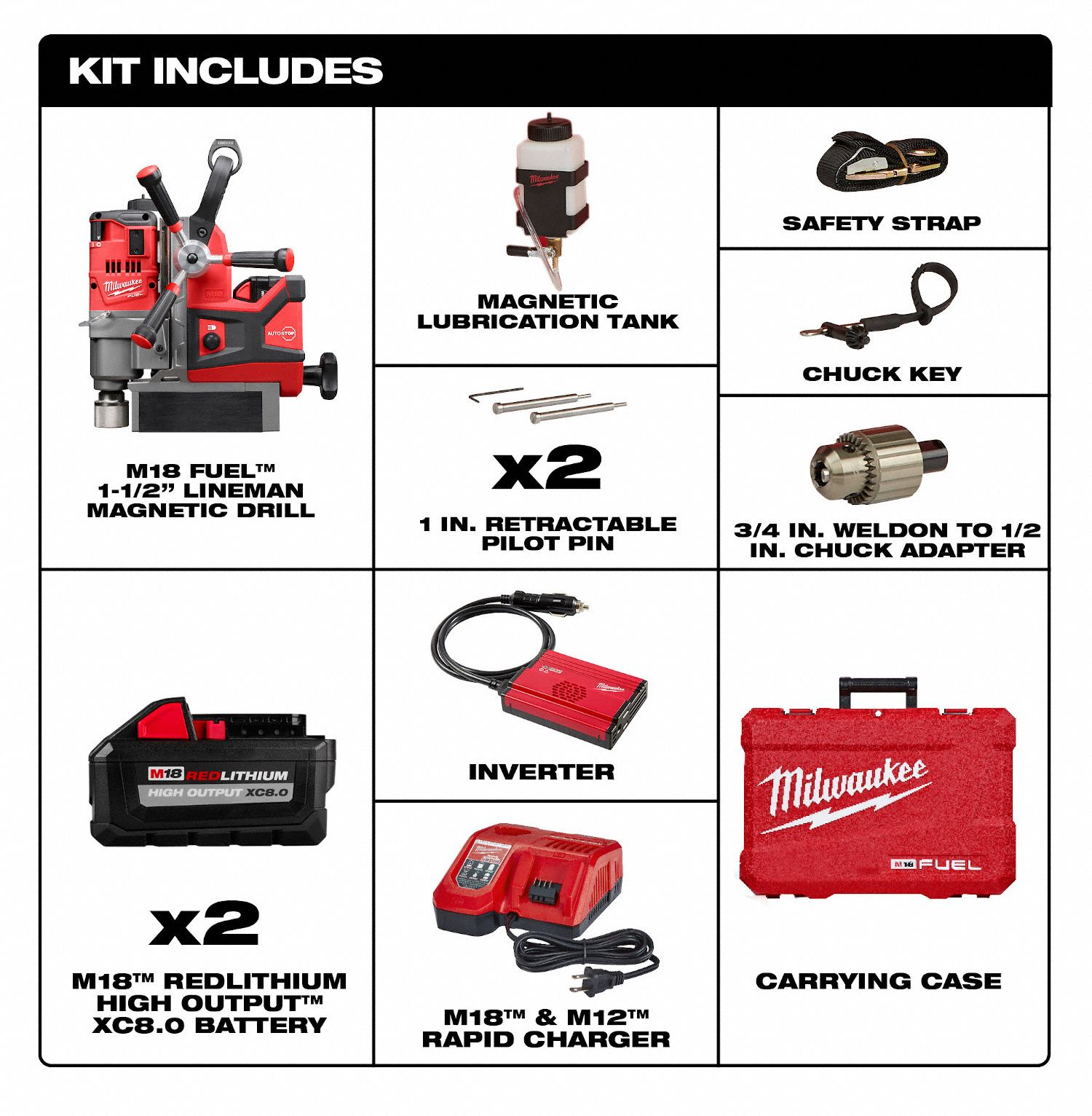 Lineman Magnetic Drill Kit Milwaukee 2788-22HD M18 FUEL 1-1//2 in