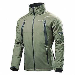 Men's Green Heated Jacket, Size: 3XL, Battery Included: No