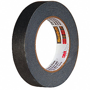Paper Masking Tape, Rubber Tape Adhesive, 6.70 mil Thick, 24mm X 55m, Black, 1 EA