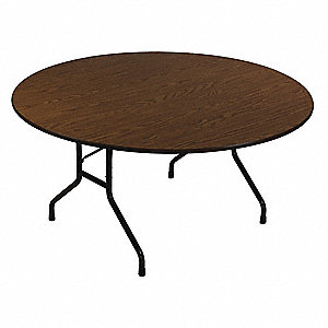 "Round Folding Table, 29"" Height, 60"" Diameter, Walnut"