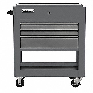 "Gray Industrial Premium Tool Utility Cart, 43"" H X 37-1/2"" W X 20"" D, Number of Drawers: 3"