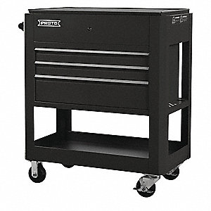 "Black Industrial Premium Tool Utility Cart, 43"" H X 37-1/2"" W X 20"" D, Number of Drawers: 3"