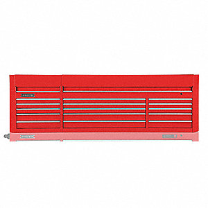 "Red Industrial Premium Top Chest, 27"" H X 88"" W X 27"" D, Number of Drawers: 15"