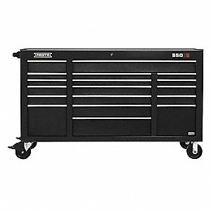 "Black Industrial Premium Rolling Cabinet, 41"" H X 67"" W X 25-1/4"" D, Number of Drawers: 18"