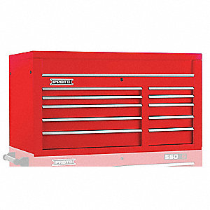 "Red Industrial Premium Top Chest, 27"" H X 50"" W X 25-1/4"" D, Number of Drawers: 10"