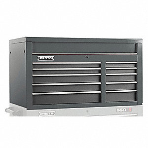 "Gray Industrial Premium Top Chest, 27"" H X 50"" W X 25-1/4"" D, Number of Drawers: 10"