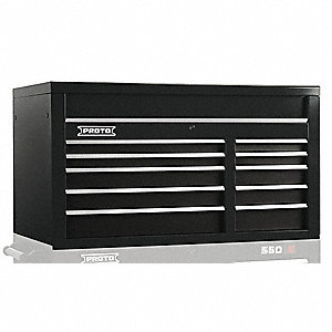 "Black Industrial Premium Top Chest, 27"" H X 50"" W X 25-1/4"" D, Number of Drawers: 10"