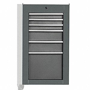 "Gray Industrial Premium Side Cabinet, 34"" H X 19"" W X 25-1/4"" X D, Number of Drawers: 6"