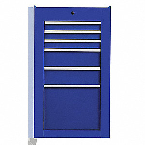 "Blue Industrial Premium Side Cabinet, 34"" H X 19"" W X 25-1/4"" X D, Number of Drawers: 6"