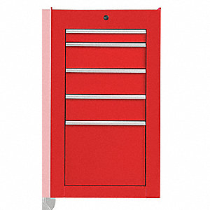 "Red Industrial Premium Side Cabinet, 34"" H X 19"" W X 25-1/4"" X D, Number of Drawers: 5"