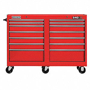 "Red Heavy Duty Rolling Cabinet, 42"" H X 54"" W X 18"" D, Number of Drawers: 14"
