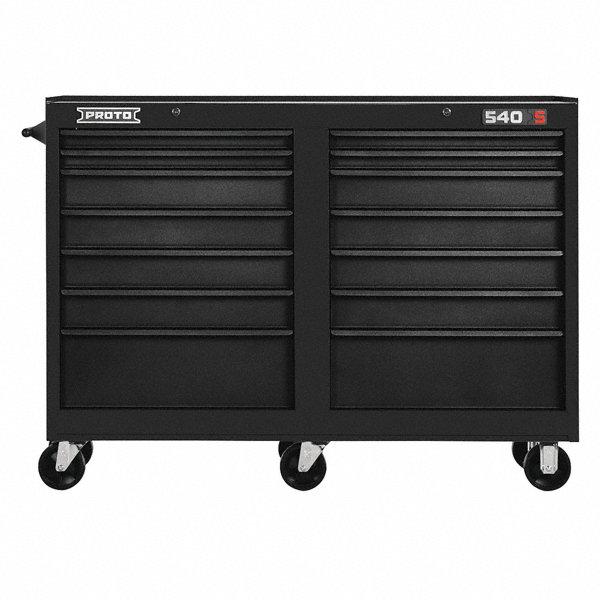 """Rolling Heavy Duty File Cabinet 4 Drawer Office Furniture: PROTO Black Heavy Duty Rolling Cabinet, 42"""" H X 54"""" W X 18"""