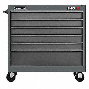"Gray Heavy Duty Rolling Cabinet, 42"" H X 41"" W X 18"" D, Number of Drawers: 6"
